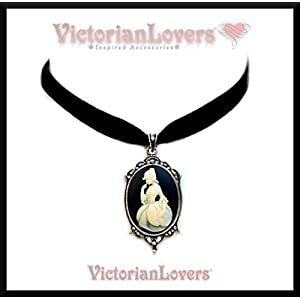 Halsband Choker Kamee Marie Antoinette Versailles Vintage Victorian Miniatur Viktorianisch Lady Dama Romantic Barock