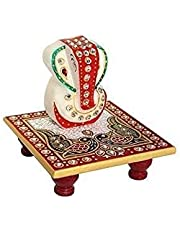 Set of 10 Pcs Meenakari Work Lord Ganesh Marble Pooja Chowki (White) by Fashion Bizz (10.2 cm x 10.2 cm x 10.2 cm)