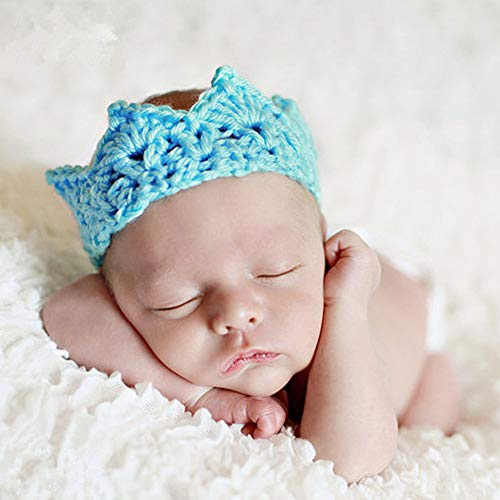 n Krone Neutral häkeln Headwear Fotografie Hut Prop für Säuglingsjunge Mädchen männlich und weiblich Baby (blau) ()