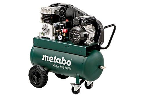 Metabo 601589000 Kompressor MEGA 350-50 W | + 2 Universal-Kupplungen (Ansaugleistung: 320 l/min | Füllleistung 250 l/min | 10 bar / 2,2 kW | Kesselgröße 50 l | 52 KG)