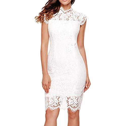 Beikoard Damen Knielänge Elegantes Kleid Ärmellos Spitze Floral Cocktailkleid Rundhalsausschnitt Bodycon-Kleid