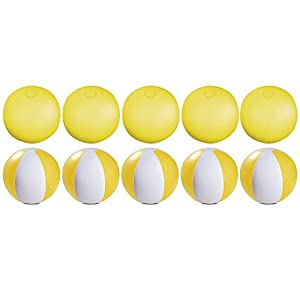 eBuyGB - Pack de 10 Bolas de Colores inflables para Piscina de Playa, Color Amarillo Transparente, 22 cm