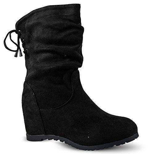 4043878f520de Damen Stiefel Schlupfstiefel Keilabsatz Stiefeletten Boots Wedge ...