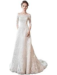 Vestido de Novia Largo para el Piso de la Mujer Vestido de Novia Transpirable Vestido Retro