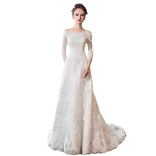 Vestido de Novia Largo para el Piso de la Mujer Vestido de Novia Transpirable Vestido Retro con Flecos Vestido de Noche de Novia (Color : White, tamaño : M)