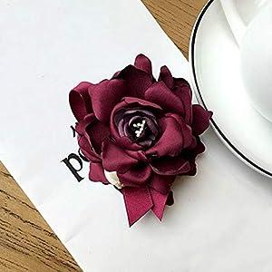 BULIW Brosche Bekleidungszubehör Mode Stoff große Kamelie Blume Broschen Pins Pullover Mantel Revers Pin Brosche Frauen Schmuck Geschenke