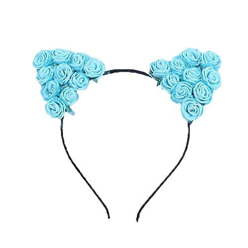 Dosige Haarreif Schwarz Schaum Katzenohren Ohren Kostüm Haar Stirnband für Party und Tägliche Tragen 0.5cm Breit Blau