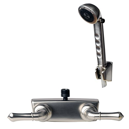 Preisvergleich Produktbild Builders Shoppe RV / Wohnmobil Ersatz nichtmetallischen Zwei Griff Dusche Wasserhahn Ventil Umschalter mit passenden Handbrause-Set Brushed Nickel Finish