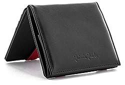 JAIMIE JACOBS Flap Boy - Das Original - Magic Wallet mit Münzfach und RFID-Schutz Magischer Geldbeutel magisches Portmonaie Brieftasche mit Kleingeldfach Herren echtes Leder (Schwarz mit Rot)