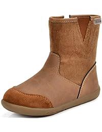 Botas de Nieve para niños Costuras de Cuero cómodas Cremalleras Fondo Plano Zapatos de niños Calientes.