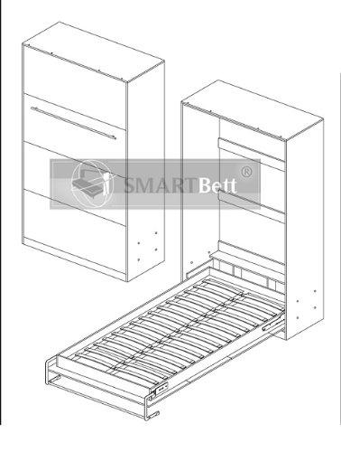 Smartbett Schrankbett Hochkantbett Murphy Bed Foldaway bed 120 x200cm Vertikal in der Farbe Weiß mit Hochglanzfront - 3