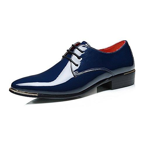 CATEDOT Oxford Schuhe für männer Lackleder Glatte Cap Toe Low Block Ferse Business Breathable gefütterte Schuhe für Smoking (Color : Blau, Größe : 45 EU)