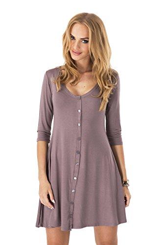 Longshirt weit geschnitten Kleid mit Knopfleiste Top 5 Farben Gr. 36 38 40 42 44 46, 8995 Cappuccino