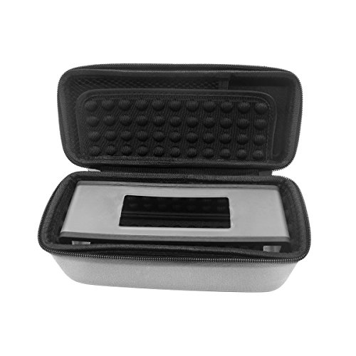 TEQIN Grau EVA Hart Bose Hülle Reise Aufbewahrung Schutz Tasche mit Rucksack Hängende Schnalle + Schwarz Silikon Bose Hülle + Samt Tasche 3in1 Kit für Bose SoundLink Mini Bluetooth Drahtloser Lautsprecher
