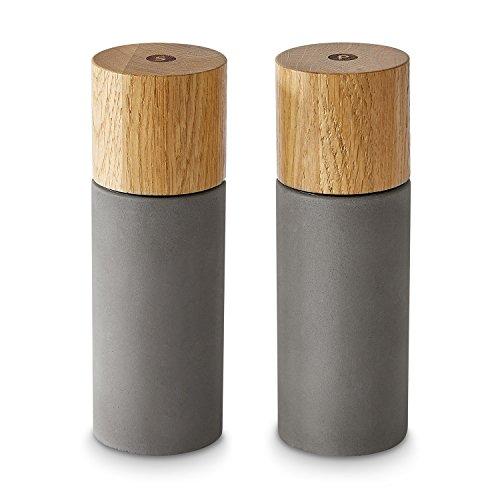 Salz- und Pfeffermühlen-Set Pepita 2 tlg. von Springlane Kitchen hochwertige Salz- und Pfeffer-Streuer, Materialmix aus Beton und Holz, modernes Design, ideal für Gewürze, Pfeffer, Salz & Chili