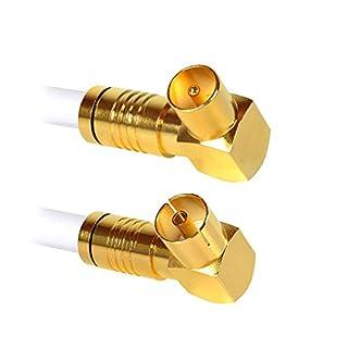 Antennenkabel 10 Meter Koax Stecker 90° auf Koax Buchse 90° 135dB 4K UHD 5-Fach Schirmung Anschlusskabel Koaxial Kabel Kabelfernsehen TV HDTV Radio Internet Coax (10 Meter, Buchse 90°/ Stecker 90°)
