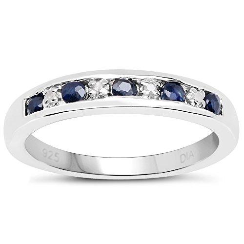 La Collection Bague diamants : Bague Argent de 3mm le Canal set Saphir bleu foncé et de Diamants, Bague Éternité Taille Bague 50