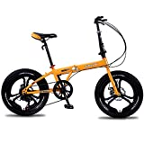 GRXXX Bicicleta Plegable, Ultraligera, portátil, portátil, Adulto, Estudiante, Macho y Hembra, 18 Pulgadas,Yellow-18 Inches