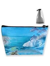 Bolsa de maquillaje trapezoidal Bolsas de cosméticos de viaje con estampado de delfín y tortuga de