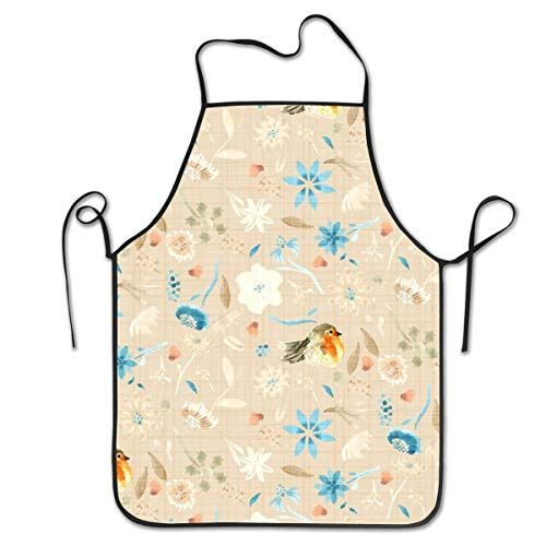 BetterShopDay Baby Bird Robin Floral Watercolor Orange Taupe Tan Chef and Apron Set for Adults - Kitchen Aprons with Cooking for Women Men Adjustable 28.3x20.4Inchs - Lacy Baby-sets