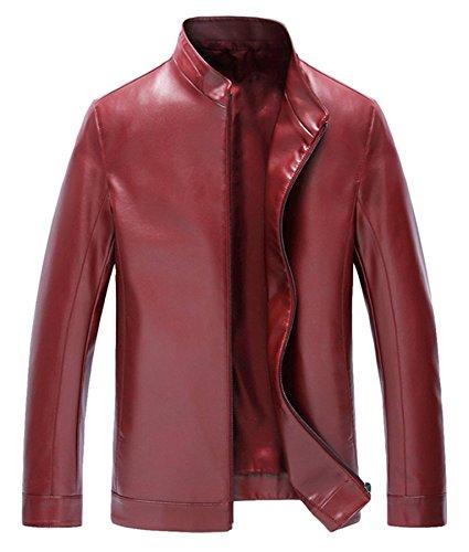 Hommes cuir Fit cuir Loisir fermeture éclair cuir veste Rouge