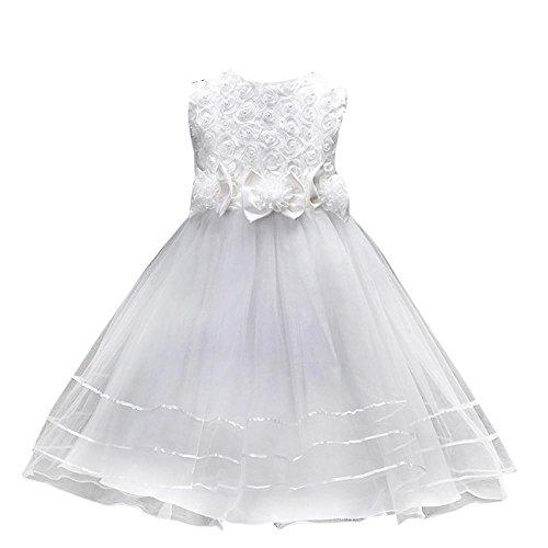 Mädchen Festlich Kleider Kinder Kleider Longra Hochzeit Festkleid mit Rose für Kinder Langes...