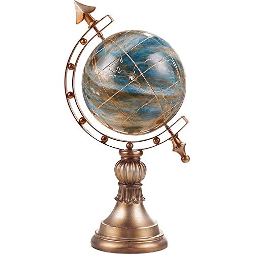 FENDOUBA Skulptur Globus Display Handwerk Desktop Welt Globus Kugel Ornament Kinder Pädagogisches Lernen 9,4 X 7,4 X 15,9 Zoll -