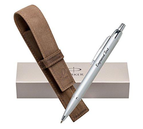 Personalisierte Geschenke Parker Kugelschreiber IM - Silber CT + Ledertasche Jagd Braun + Box (Leder Schieren)