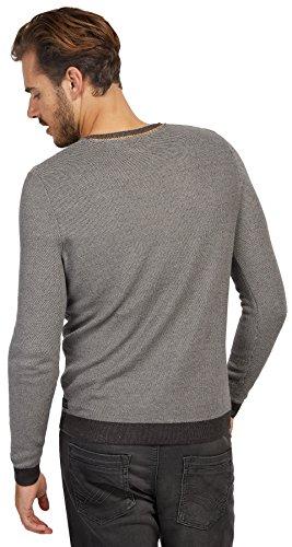 Tom Tailor für Männer knit Pullover mit Struktur und Print Black