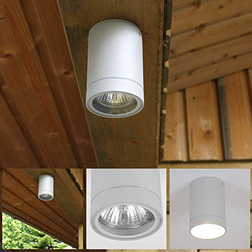 Aussendownlight Luminaire en Aluminium Gris Spot Plafonnier Ø 65mm Lampe D'Extérieur Rond GU10 35W 230V Extérieur Plafonnier Moderne