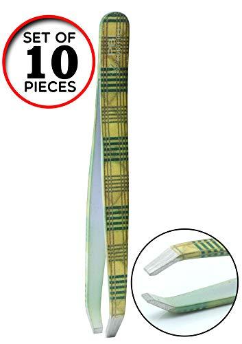 Pincette à sourcils - plumeuse - pince à épiler - Pincette colorée - 9,5 cm - Set 10 pièces - Acier inoxydable de PBI