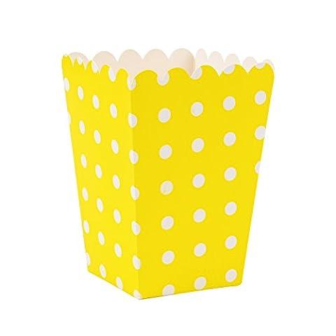 Shappy 10 Pièces Mini Boîtes à Pop-Corn Bonbons Container avec Polka Point pour Film de Fête et Fournitures de Théâtre (Jaune)