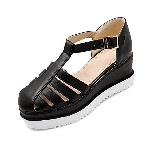 VogueZone009 Femme Matière Mélangee Rond à Talon Correct Couleur Unie Chaussures Légeres Noir