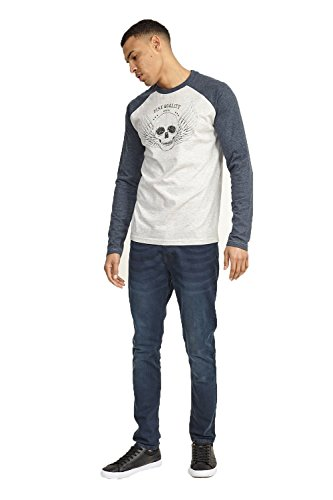 Brave Soul Herren Raglan T-Shirts Langärmlig Rundhals Top Taveri - Ecru/Denim Marl