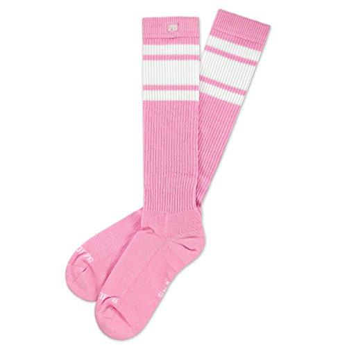 Spirit of 76 Bubblegum Hi | Hohe Retro Socken mit Streifen Pink, Weiß gestreift | kniehoch | stylische Unisex Kniestrümpfe Größe M (39-42) -