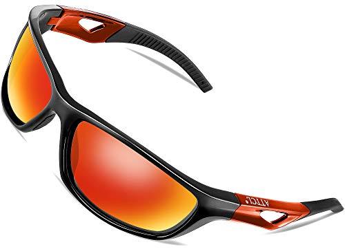 ATTCL Herren Sonnenbrille Polarisierter Sports Fahren Golf Laufen Superleichtes Rahmen 306 RED+RED