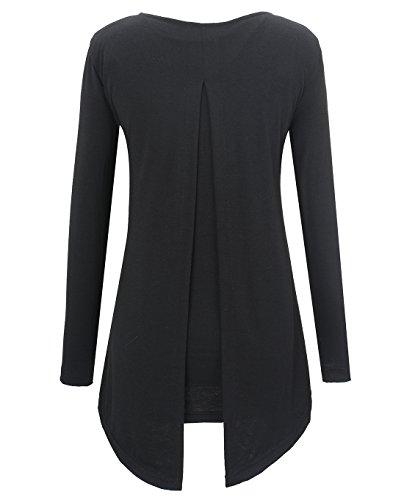 KorMei Damen Langarmshirt Rundkragen Asymmetrisch Faux Twinset T-Shirt Bluse Schwarz
