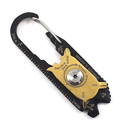 Multifunzione Tool Keychain strumento per la tasca dei pantaloni, con molte funzioni utili, von desmarte-Piccolo, leggero, stabile, robusto, antiruggine, pratico, Multi Tool, Multi Tool, EDC, moschettone, keychain