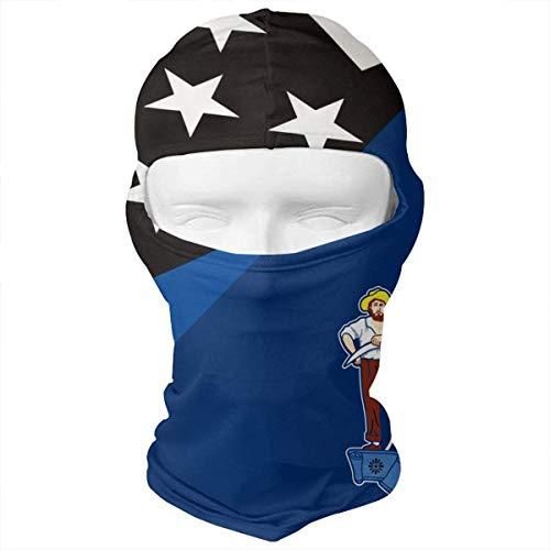 Thin Blue Line Flag Maine State Flag Balaclava Face Mask Headwear Helmet Liner Gear Full Face Mask -