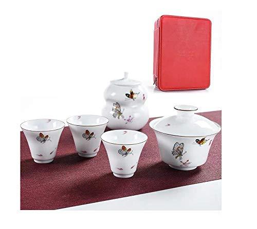JUN Tee-Set Weiß Porzellan Mini Chinesische Reise Kung Fu Tee Einfache Geschenkset Home Reise Büro Tragetasche (Color : Butterfly Dance Bowl Set) Mini-china-tee-set