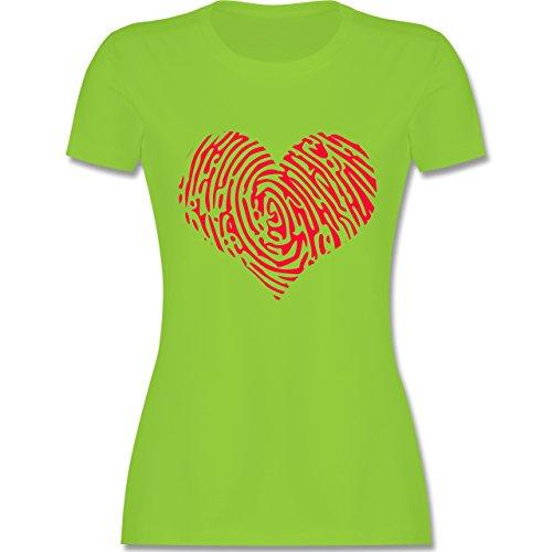 Statement Shirts - Herz Fingerabdruck Rot - tailliertes Premium T-Shirt mit  Rundhalsausschnitt für Damen