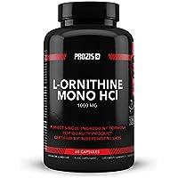 Prozis 100% Pure L-Ornithine 60 gélules 1000 mg - Favorise la production d'hormone de croissance et évite le catabolisme - 30 doses !