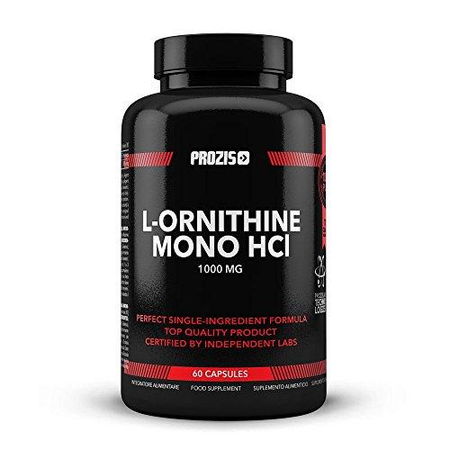 Prozis 100% Reines L-Ornithin 60 Kapseln 1000 mg - fördert die Ausschüttung von Wachstumshormonen und verhindert den Muskelabbaustoffwechsel - 30 Portionen!