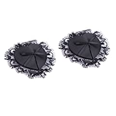Idea Regalo - HEALIFTY 2pcs Womens sexy a forma di stella copricapezzoli pizzi e pasticcini in silicone petti petalo al seno (nero)