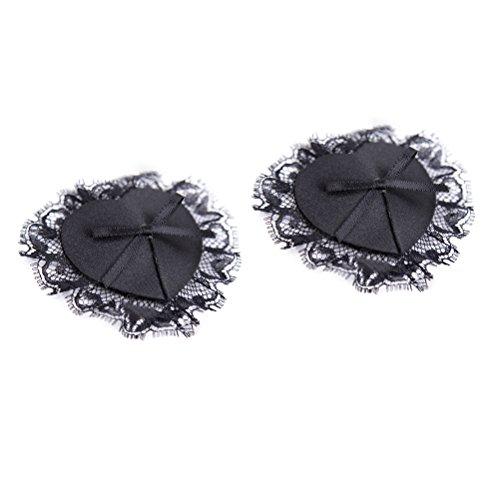 HEALIFTY 2pcs Womens sexy a forma di stella copricapezzoli pizzi e pasticcini in silicone petti petalo al seno (nero)