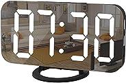 "Digital Alarm Clock, منبه رقمي, Necomi 7"" LED Mirror Electronic Clock with 2 USB Charging Ports, Snooze M"