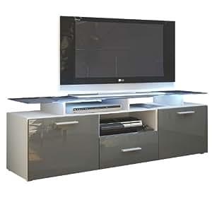 meuble tv bas almada corps en blanc mat fa ades en gris haute brillance vladon. Black Bedroom Furniture Sets. Home Design Ideas