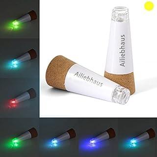 Ailiebhaus 2 Pack Bottle Light LED Wine Cork Light Rechargeable Bottle Cork Light for Wedding Party Decor, Yellow