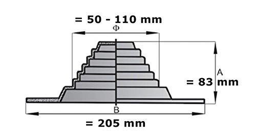 Toit de purge–Système d'aération DN 110500mm–9–3011–500–44–01–03+ bride