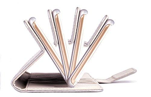 Apple iPhone 8 und iPhone 7 | iCues Maraba Tasche Bouquet Gold | Premium Kartenfach Standfunktion Stand Leder - Imitat Book Klapphülle Schutz Etui Handytasche zum aufklappen Flip Case Schutzhülle Book Carbon Silber